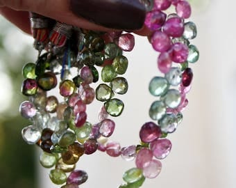 "Pink Green Blue Gem Watermelon Tourmaline Faceted Small Heart Briolette Drop Beads 40-41 drops 4"" strand"
