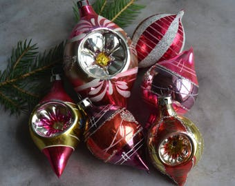 6 Vintage Poland Glass Christmas Ornaments Purple Pink & Gold