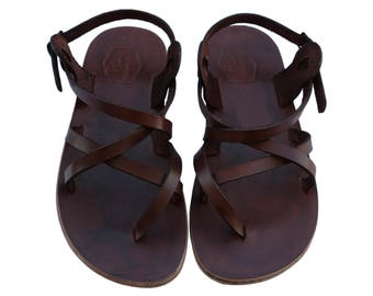 CLEARANCE SALE - Dark Brown Triple Leather Sandals - All Leather Sole  - Euro # 41 - Handmade Unisex Sandals, Genuine Leather, Sale