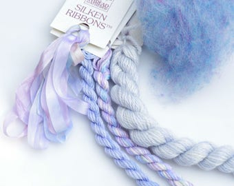 White Wash Lavender  Variety Thread  Pack. Limited Edition. Hand dyed by The ThreadGatherer. Silk.Wool.Cotton. Thread Sampler Pack.