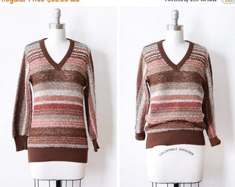 20% OFF SALE 70s striped sweater, vintage v neck sweater, rust striped bouclé pullover knit, medium m