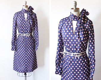 60s polka dot dress, vintage 1960s dress, navy + red+ white graphic mod dress with ascot bow scarf, mod scooter dress, small s