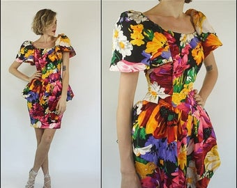 SUMMER SALE Vintage 80s Silk Floral garden Peplum Multicolored Corset Preppy Mini dress XXS Xs