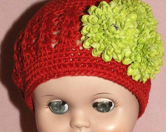 Girl Child's Hat Cap Little Diva Hand Crocheted Red Green Flowers with Rhinestone Bling