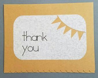 Thank You Tan & Gray Damask Greeting Card