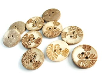 10 Coconut Shell Buttons 18mm - Rustic Leaf (BC612)