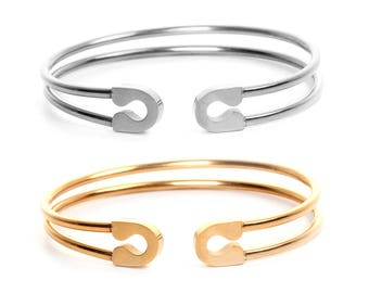 Stainless Steel Safety Pin Open Cuff Bangle Bracelet
