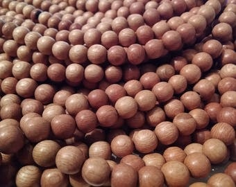 Rosewood beads 8mm - Natural Mala Wooden Beads - 48pcs