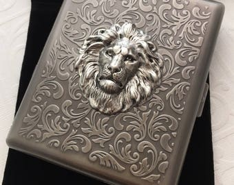 Large Size Lion Cigarette Case Extra Big Antiqued Silver Tone Metal Wallet Gothic Victorian Steampunk Silver Lion Vintage Inspired
