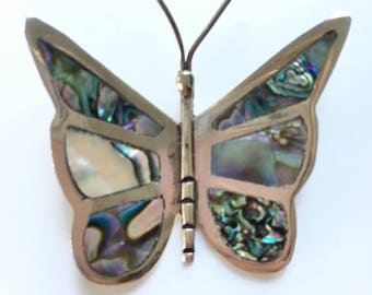 Vintage Alpaca & Abalone Shell Artisan Butterfly Pin Brooch Mexico