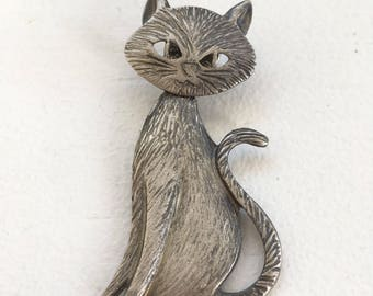 Vintage Movable Pewter Cat Pin Brooch
