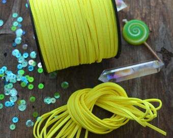 Neon Lime Green Faux Suede Leather Cord, 15 feet bundle (5 yards) / Microfiber, Vegan Suede, DIY Cord Supplies, Faux Suede Cord, Supplies