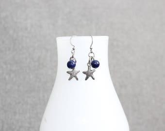 boucles d'oreilles, bijoux femme, étoile, marine, nautique, croisière, bleu marine, fait au Québec, nica nica bijoux, boucle doreille courte