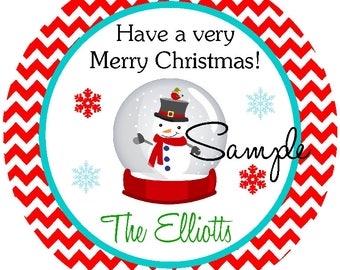 Christmas Personalized Stickers, Snowglobe Stickers, Printable Holiday  Gift Tags, Digital Christmas Labels, Printable Holiday Stickers