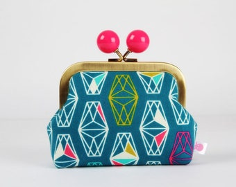 Metal frame coin purse with color bobble - Lively lanterns in teal - Color dad / Cotton and Steel /  Lagoon / pink neon green turquoise