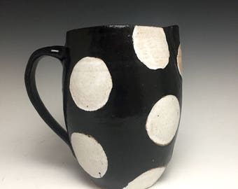 Stoneware Pitcher; Functional Ceramic Arts; Black And White Polka Dots