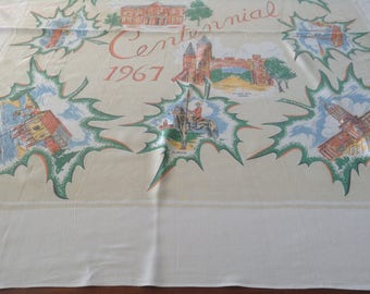 Canada Centennial Tablecloth, 10 Provinces, Mounties, Mountains, Seas, Wheat, Fishing