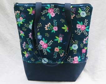 Dainty Roses on Navy Blue Insulated Lunch Bag-Tote-Eco-Friendly and Washable-Water and Mildew Resistant Interior-Extra Large-Tall Size
