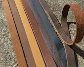 "Leather Strap, long leather Strip- brown, black, purse strap, belt blank 3/4"" wide leather. 30, 60, 72, 80 inch,  6 foot long, belts, diy"
