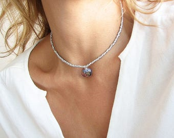 Silver Beaded Choker Silver Choker Beaded Necklace Resin Jewelry Forget Me Not Necklace