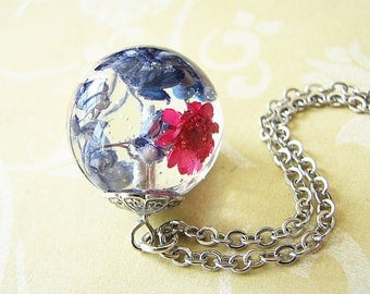 Resin Jewelry Real Flower Necklace Real Flower Jewelry Botanical Necklace Orb Necklace Pressed Flowers