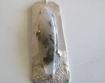 Spectacular Plume Agate Pendant in Shades of Grey, Black, Silver and Gold: Statement Jewelry for Her