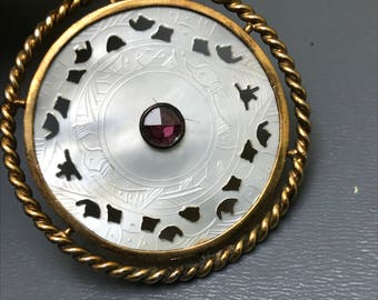 Antique Chinese mother of pearl gambling chip pendant .  Paste Stone jewelry