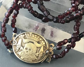 RESERVED/ 2nd payment  .. Antique Victorian Mourning Necklace  . 10kt gold Memento Mori  Clasp . Hand cut Faceted Garnet Jewelry