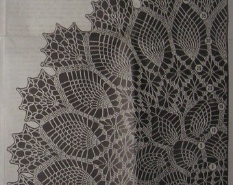 """Oblong Pineapple Tablecloth Crochet pattern 505 Three sizes 52""""x70"""" 54""""x80"""" 34""""x46"""" Date 1960s PDF file emailed 2U instant download"""