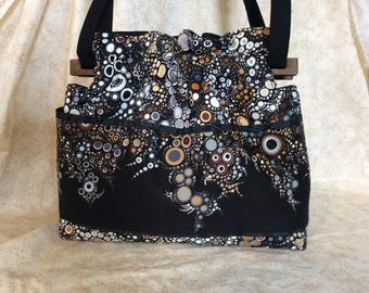 Reversible black brown effeverscence handbag Purse cotton quilted