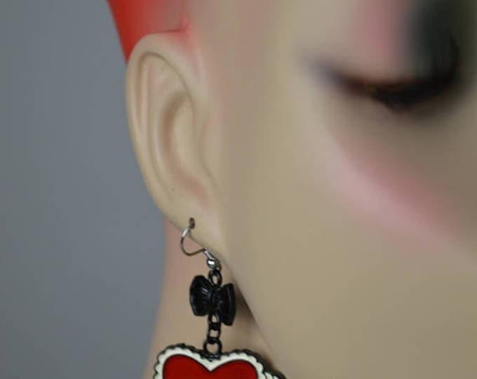 sale Rockabilly Earrings, Heart Earrings, Tattoo Earrings, Red Earrings, Pin Up Earrings, Love Earrings, Drop Earrings, Dangle Earrings,