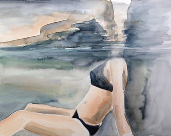 original watercolor painting - woman swimming underwater
