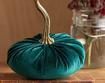 Scented Velvet Pumpkin, Rich Dark Green