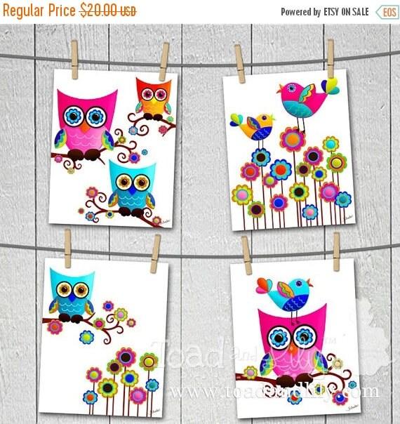 MEMORIAL DAY SALE Set of 4 Psychedelic Owl and Birdies Girls Bedroom 8x10 Art Prints