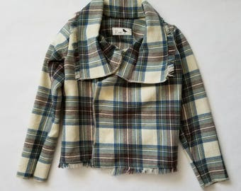 Blue and Cream Plaid Wool Children's Jacket 4T