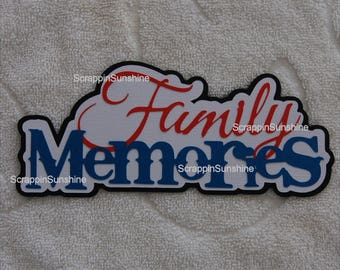 Family Memories Die Cut Title Paper Piece for Scrapbook Pages - SSFF