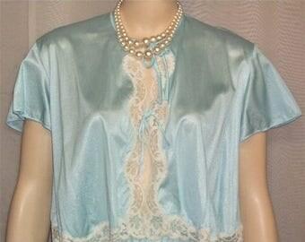 SUMMER SALE Vintage 1970's Blue Nylon Pajama Short Set Lace PJ's Size Large 18-20 Montgomery Wards