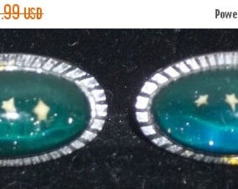 ON SALE Vintage Blue Stars Lucite Cuff Links Cufflinks Silver Tone