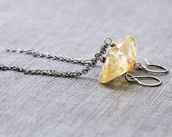 Organic Citrine Earrings | November Birthstone Earrings | Sterling Silver Chain Earrings | Honey Yellow | Healing Stone | Boho Jewelry