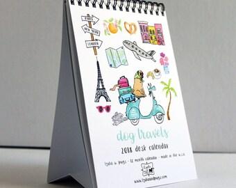 2018 Calendar - 2018 Dog Travels Desk Calendar by Lydia & Pugs