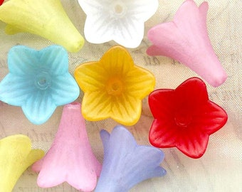 10 x cups ❀ acrylic flowers 22x21mm MIXTES❀ MAT0830B ❀