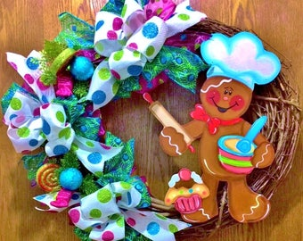 SALE - Ginger Bread Baker Man Christmas - Welcome Door Grapevine Wreath