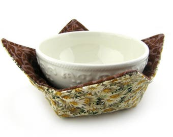 Microwave Safe Bowl Cozy, Bowl Cozies, Soup Bowl Holder, Hot or Cold, Reversible, Sunflower, Green, Yellow, Brown, Floral, Bowl Warmer