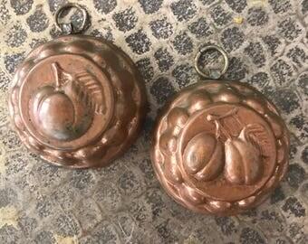 Pair Vintage Petite Copper Jello Molds