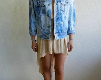 40% OFF Vintage Lee Light Blue Marbed Denim Jacket