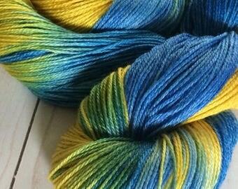 "3 Ply Sheentastic Fingering Weight Yarn ""Exploding T.A.R.D.I.S."" Superwash Merino/Bamboo/Nylon. Sock Yarn, hand dyed yarn, weaving yarn"