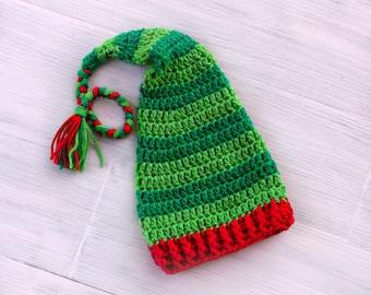 Elf Baby Christmas Hat, Crochet Elf Hat, Red and Green Green Striped Newborn Elf Hat, Christmas Baby Hat