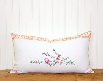 Vintage French Embroidered Pillow - Floral Pillow - Cottage Style - Cushion Cover - Shabby Chic - 12x20 - Repurposed - Orange Pillow - SWEET