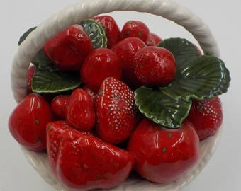 Oh My those Luscious Strawberries - Strawberry Basket - Ceramic - Country Cottage