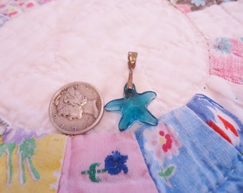 Vintage Faceted Sea Blue Green Crystal Starfish Pendant with Sterling Bail